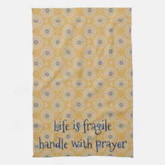 Life Fragile Handle Prayer Hand Towel