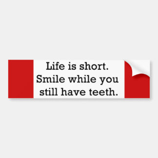 LIFE FUNNY SAYINGS SHORT SMILE WHILE YOU STILL CAR BUMPER STICKER