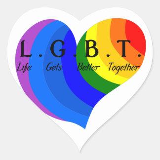 Life Gets Better Together LGBT Pride Heart Sticker