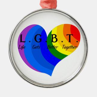 Life Gets Better Together LGBT Pride Metal Ornament