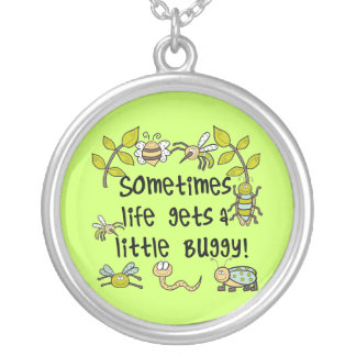 Life Gets Buggy Round Pendant Necklace