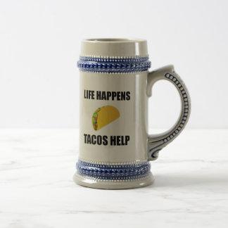 Life Happens Tacos Help Beer Stein