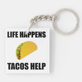 Life Happens Tacos Help Keychain