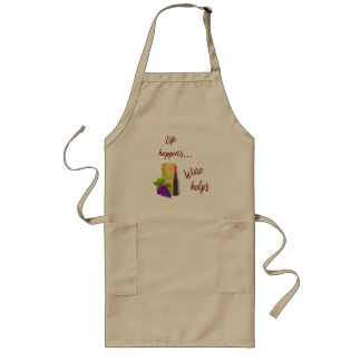 Life Happens Wine Helps Typography Wine Lovers Long Apron