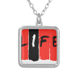 Life (in red) square pendant necklace
