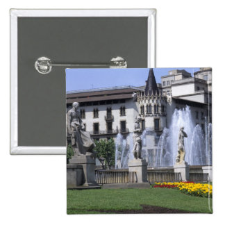 Life in Spain the beautiful Plaza Cataluna with 2 Inch Square Button