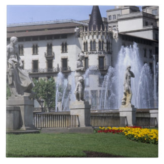 Life in Spain the beautiful Plaza Cataluna with Ceramic Tile