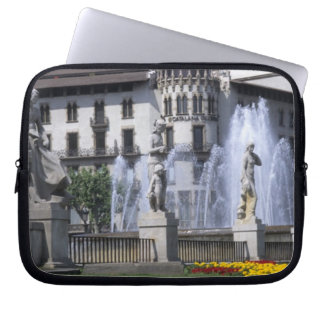 Life in Spain the beautiful Plaza Cataluna with Laptop Sleeve