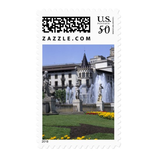Life in Spain the beautiful Plaza Cataluna with Postage
