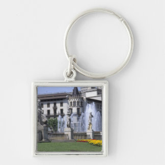 Life in Spain the beautiful Plaza Cataluna with Silver-Colored Square Keychain