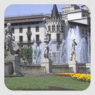 Life in Spain the beautiful Plaza Cataluna with Sticker