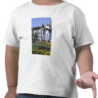 Life in Spain the beautiful Plaza Cataluna with T-shirts