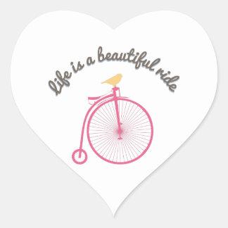 Life Is A Beautiful Ride Heart Sticker