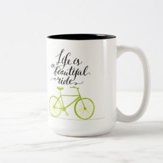 Life Is A Beautiful Ride Lime Green Two-Tone Coffee Mug