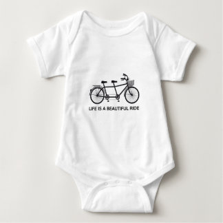 Life is a beautiful ride, tandem bicycle baby bodysuit