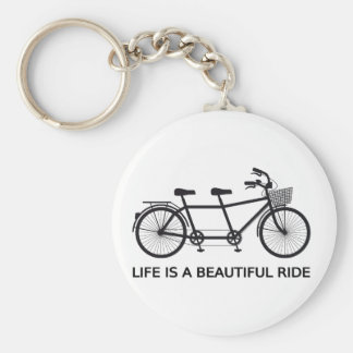 Life is a beautiful ride, tandem bicycle basic round button keychain
