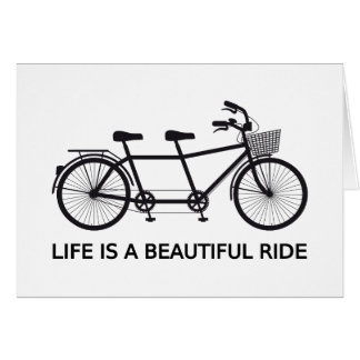 Life is a beautiful ride, tandem bicycle card