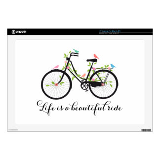"Life is a beautiful ride, vintage bicycle 17"" laptop skin"