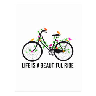 Life is a beautiful ride, vintage bicycle postcard