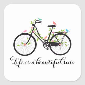 Life is a beautiful ride, vintage bicycle square sticker