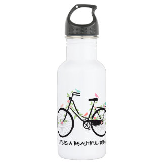 Life is a beautiful ride, vintage bicycle water bottle