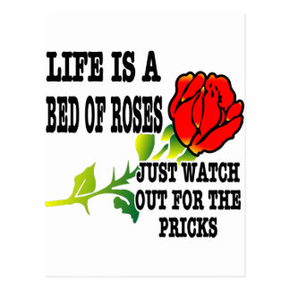 Life Is A Bed Of Roses Watch Out For The Pricks Postcard