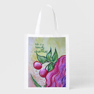 Life is a bowl full of cherries reusable grocery bag