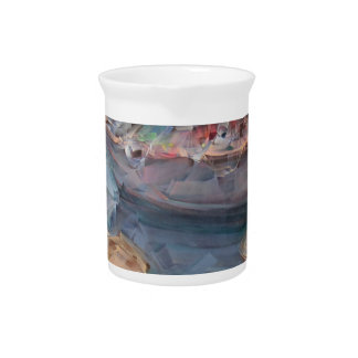 Life is a Fish Boat Oil Painting Beverage Pitcher