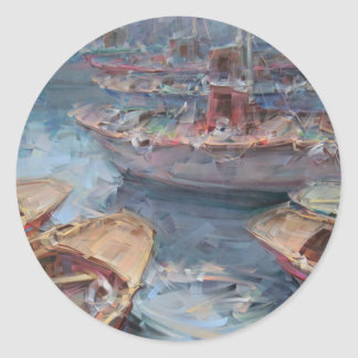 Life is a Fish Boat Oil Painting Classic Round Sticker