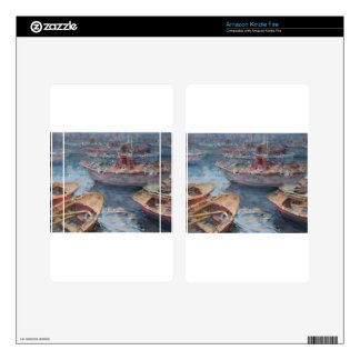 Life is a Fish Boat Oil Painting Decals For Kindle Fire