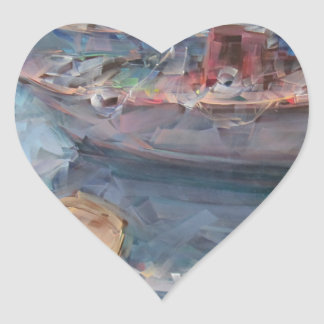 Life is a Fish Boat Oil Painting Heart Sticker