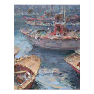 Life is a Fish Boat Oil Painting Letterhead