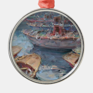 Life is a Fish Boat Oil Painting Metal Ornament