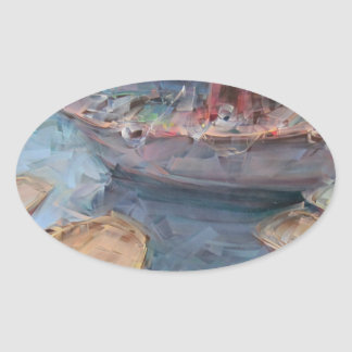 Life is a Fish Boat Oil Painting Oval Sticker