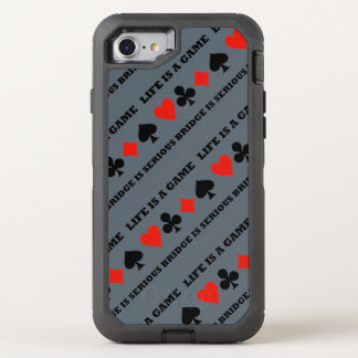 Life Is A Game Bridge Is Serious Card Suits OtterBox Defender iPhone 7 Case
