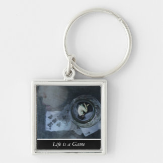Life is a Game ('Customize it' for round option) Silver-Colored Square Keychain