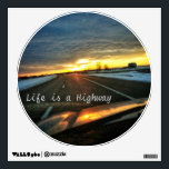 """Life is a Highway Wall Decal<br><div class=""""desc"""">Beautiful sunset on the highway with a barn in the distance.</div>"""