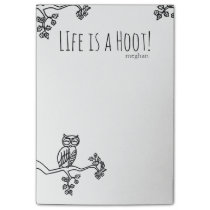 Life is a Hoot! Cute Owl Add Name Black and White Post-it Notes