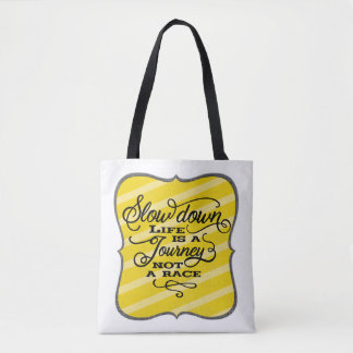 Life Is A Journey Black Script Typography Tote Bag