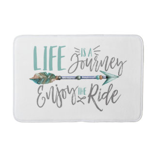 Life is a Journey Enjoy the Ride Boho Wanderlust Bathroom Mat
