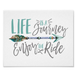 Life is a Journey Enjoy the Ride Boho Wanderlust Poster