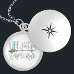 """Life is a Journey Enjoy the Ride Boho Wanderlust Silver Plated Necklace<br><div class=""""desc"""">Life is a Journey Enjoy the Ride! Boho chic arrow wanderlust design. With hand lettered typography,  trendy adventure travel design. For the Bohemian wanderer!</div>"""