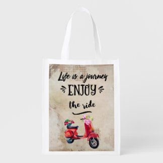 Life Is A Journey Red Moped With Flowers Grocery Bag