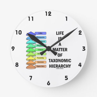 Life Is A Matter Of Taxonomic Hierarchy (Biology) Round Clock