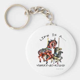 Life Is A Merry-Go-Round Basic Round Button Keychain