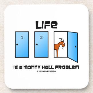 Life Is A Monty Hall Problem Three Doors Goat Beverage Coaster
