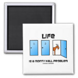 Life Is A Monty Hall Problem (Three Doors) 2 Inch Square Magnet