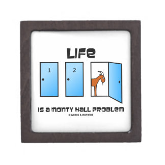 Life Is A Monty Hall Problem Three Doors One Goat Premium Jewelry Boxes