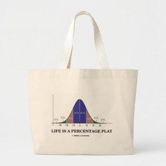 Life Is A Percentage Play (Statistics Humor) Large Tote Bag
