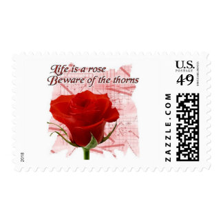 Life is a rose postage stamps